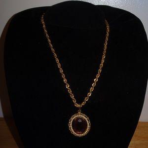 Vtg. Avon Purple Faceted Glass Pendant Necklace